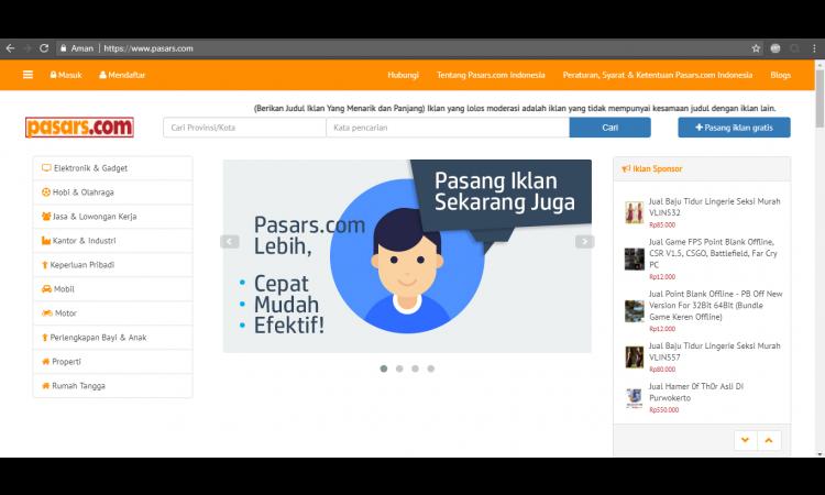 Lelang Website Pasars.com, Situs Jual Beli Online - Pasang Iklan Gratis Seperti OLX Lengkap & Kaya Fitur