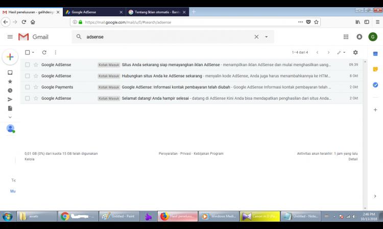 WTS Adsense Non Host Full Approve Oktober 2018 + Blog domain