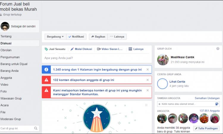 grup facebook  137.000 member pesenan mas agum