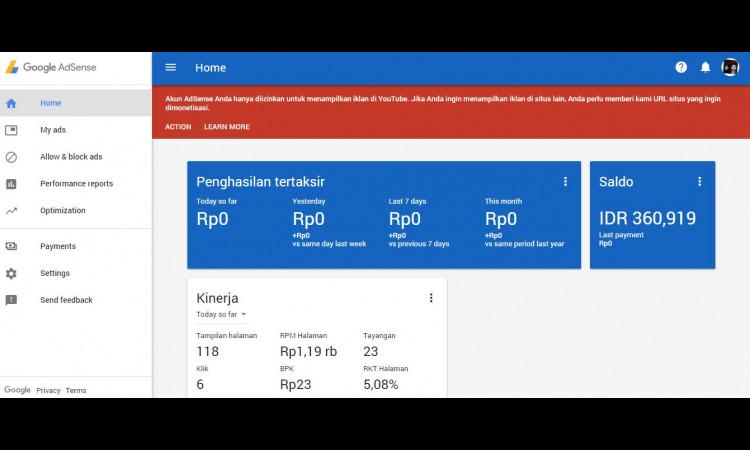 Jual Google Adsense Hosted (Saldo Rp360.919) dan Channel Youtube