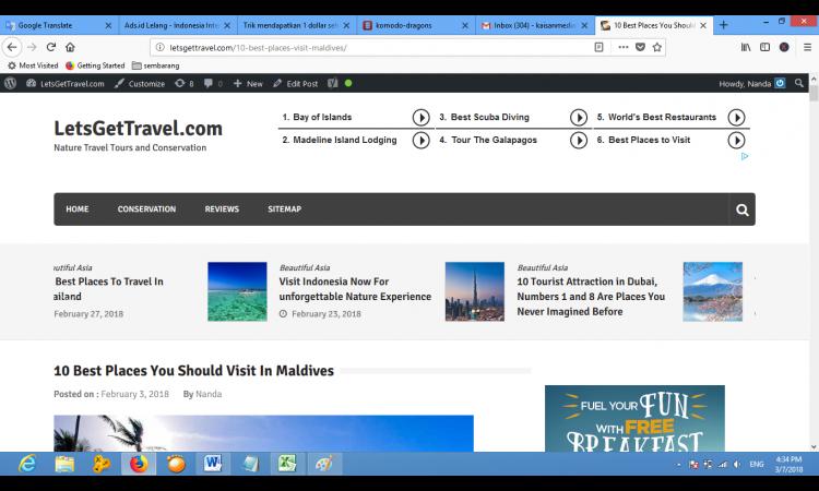 Website Travel Bahasa Inggris | Fresh baru umur 2 bulan