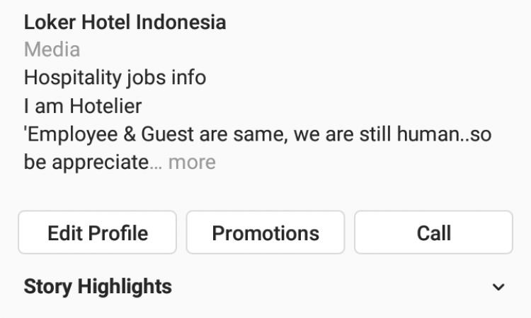 Jual Akun IG Niche Loker Hotel Indonesia 19K
