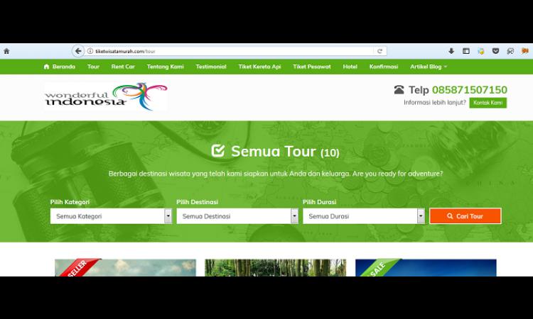 Website Tour Travel tiketwisatamurah.com