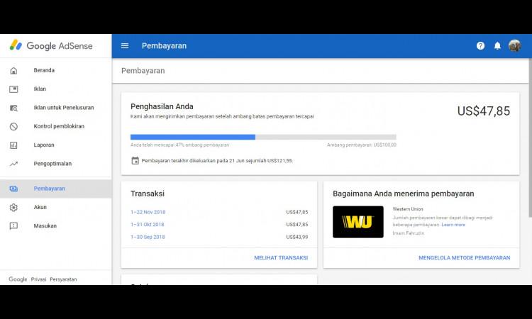 (WTS) Akun Adsense non Hosted Tahun 2013 Saldo 47 USD