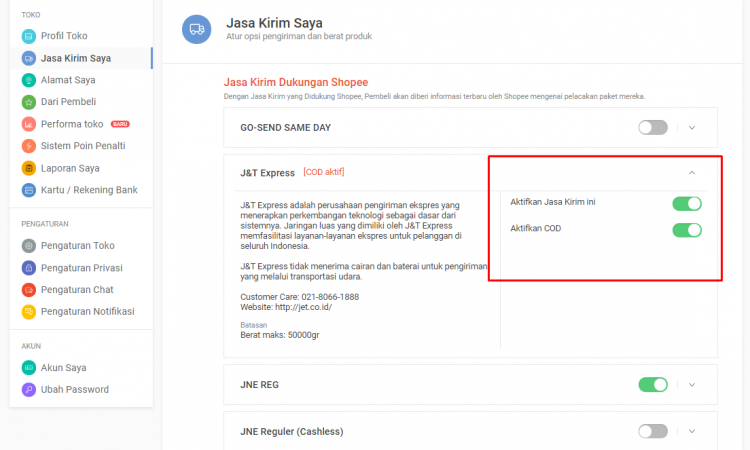 [JUAL] AKUN SHOPEE SUPPORT COD JnT / J&T (Cash On Delivery)